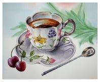 Taza de café y de una cucharilla de plata vieja Fotografía de archivo