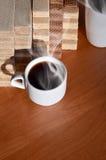 Taza de café y waffels Imagenes de archivo