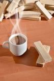 Taza de café y waffels Foto de archivo libre de regalías