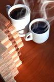 Taza de café y waffels Fotos de archivo libres de regalías