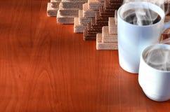 Taza de café y waffels Fotografía de archivo libre de regalías