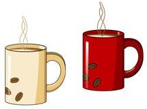 Taza de café con un vapor caliente Fotografía de archivo
