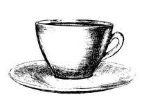 Taza de café dibujada mano Foto de archivo libre de regalías