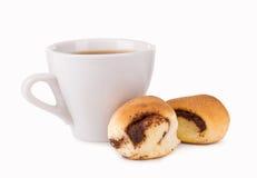 Taza de café y de galletas Fotos de archivo libres de regalías