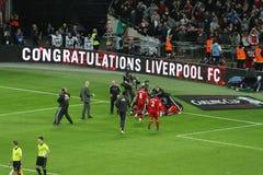 Taza de Carling - celebración de Liverpool Imágenes de archivo libres de regalías