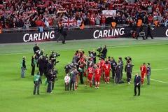 Taza de Carling - celebración de Liverpool Imagen de archivo