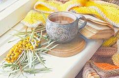 Taza de cerámica con té, rama de espino amarillo y una manta hecha punto Foto de archivo libre de regalías