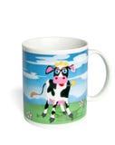 Taza de cerámica con una vaca pintada Imagen de archivo