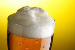 Taza de cerveza con el primer de la espuma Imágenes de archivo libres de regalías
