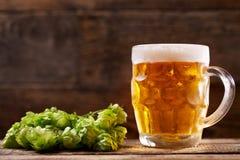 Taza de cerveza con los saltos verdes Foto de archivo