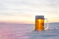 Taza de cerveza fría en la nieve Imágenes de archivo libres de regalías