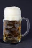 Taza de cerveza libre con espuma Imágenes de archivo libres de regalías