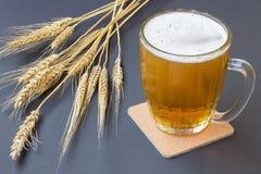 Taza de cerveza y de trigo en fondo negro Imagen de archivo libre de regalías