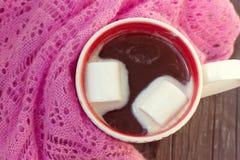 Taza de chocolate caliente envuelta en una bufanda foto de archivo libre de regalías