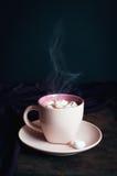 Taza de cocer el chocolate al vapor caliente con la melcocha Imagen de archivo