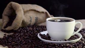Taza de cocido al vapor al vapor fresca del coffeein metrajes