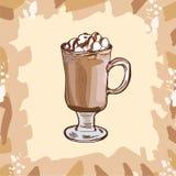 Taza de cristal de cacao caliente con las melcochas y el chocolate que rematan para los ni?os Ejemplo colorido del vector en esti libre illustration
