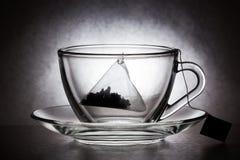 Taza de cristal con la bolsita de té Foto de archivo libre de regalías
