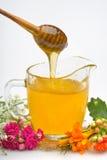 Taza de cristal con la miel y la cuchara de madera aisladas en el fondo blanco Imágenes de archivo libres de regalías