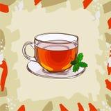 Taza de cristal con té negro clásico con las hojas de menta en fondo abstracto Sistema exhausto del ejemplo del vector de la mano stock de ilustración