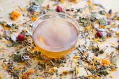 Taza de cristal de infusión de hierbas con el calendula imagen de archivo libre de regalías