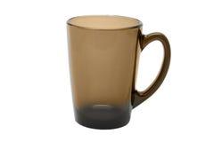 Taza de cristal vacía del latte del café aislada en el fondo blanco Fotos de archivo libres de regalías