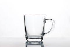 Taza de cristal vacía del latte del café, maqueta de la taza imagen de archivo libre de regalías