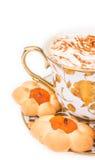 Taza de cuppuccino con las galletas Foto de archivo
