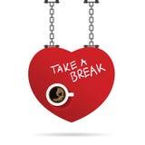 Taza de ejemplo del coffe en corazón rojo Fotos de archivo libres de regalías