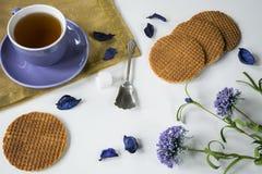 Taza de galleta holandesa Stroopwafel del caramelo del té en flores púrpuras, en la tabla blanca fotos de archivo libres de regalías