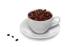 Taza de granos de café aislados fotografía de archivo libre de regalías