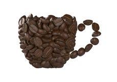 Taza de granos de café en background Foto de archivo