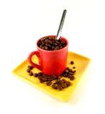 Taza de habas del coffe foto de archivo libre de regalías