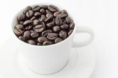 Taza de habas del coffe Fotos de archivo libres de regalías
