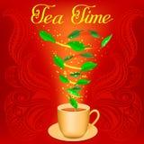 Taza de infusión de hierbas con tiempo del té del texto Imagenes de archivo