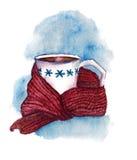 Taza de la acuarela con la bebida caliente foto de archivo libre de regalías