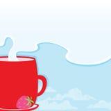 Taza de la mañana con una bebida caliente en el fondo de un cielo fresco y de las nubes para su texto Ilustración del Vector