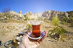 Taza de la mañana de té con la opinión roja del fondo del valle y de las rocas Foto de archivo