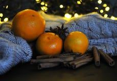 Taza de la Navidad de té y de frutas delante de un fondo luminoso Fotos de archivo libres de regalías