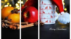 Taza de la Navidad de té y de frutas delante de un fondo luminoso Fotografía de archivo