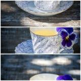 Taza de la porcelana de té en una tabla de madera en el jardín Partido del verano Imagen de archivo libre de regalías
