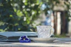Taza de la porcelana de té en una tabla de madera en el jardín Partido del verano Foto de archivo libre de regalías