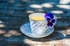Taza de la porcelana de té en una tabla de madera en el jardín Partido del verano Imagenes de archivo
