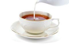 Taza de la porción de té con leche. Fotos de archivo