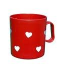 Taza de la tarjeta del día de San Valentín Foto de archivo libre de regalías