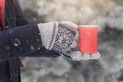 Taza de la tenencia del hombre de té en día nevoso al aire libre imagen de archivo libre de regalías