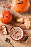 Taza de latte de la calabaza, humor de la caída del otoño imagen de archivo libre de regalías