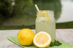 Taza de limonada por el lago Foto de archivo