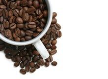 Taza de los granos de café fotografía de archivo