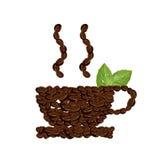 Taza de los granos de café con las hojas aisladas en blanco libre illustration